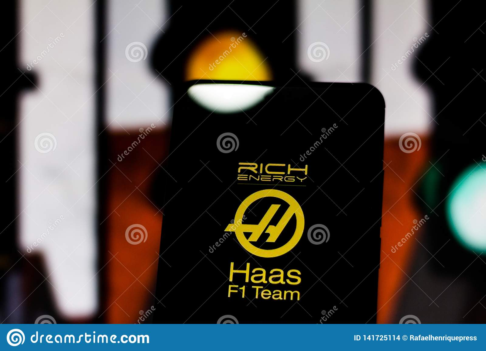 Team Logo Rich Energy Haas F1 Team Formula 1 On The Screen Of The Mobile Device Haas Dispute The World Motorsport Championship Editorial Stock Image Image Of Cellular Competition 141725114