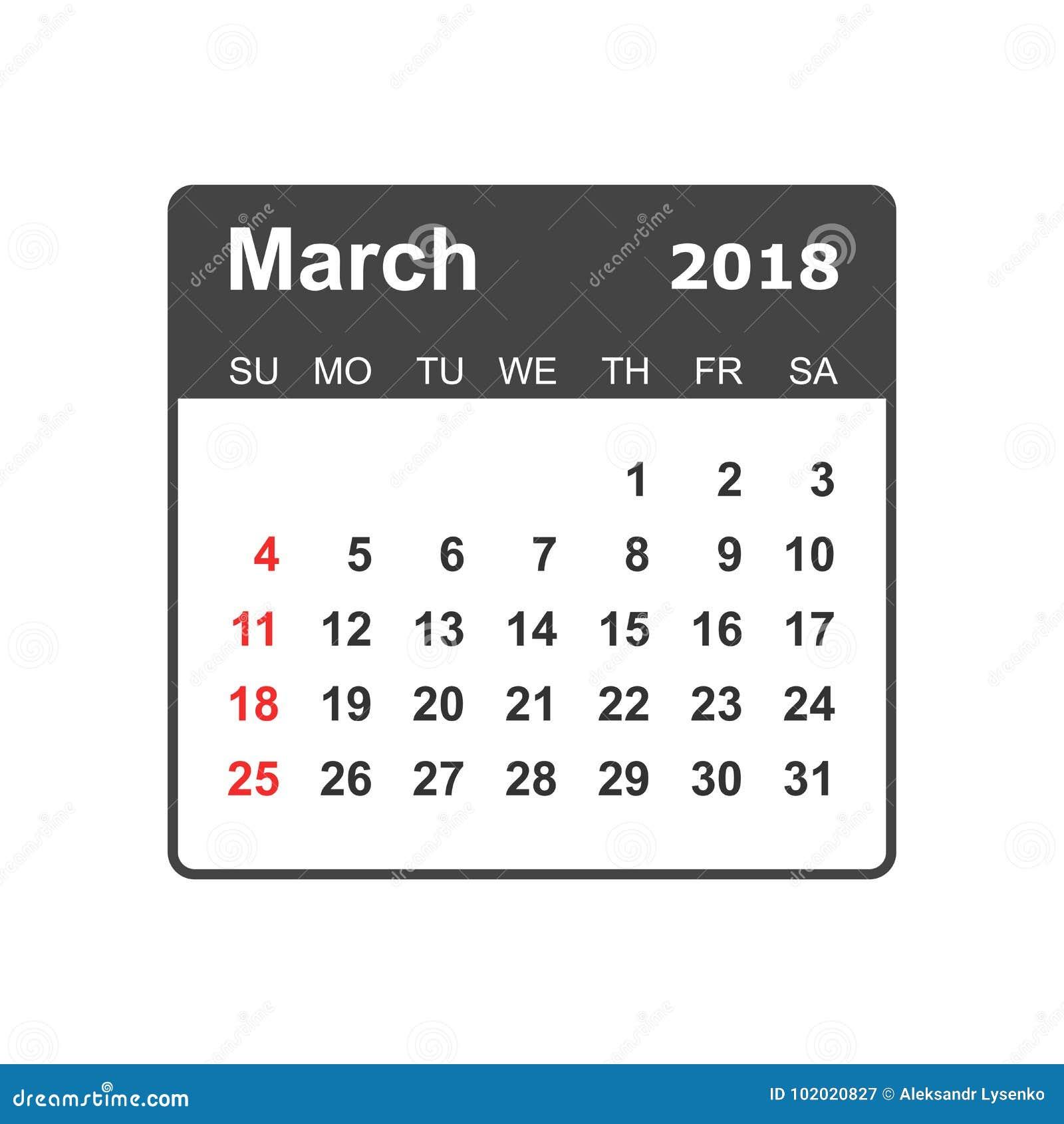 March 2018 calendar. Calendar planner design template. Week star
