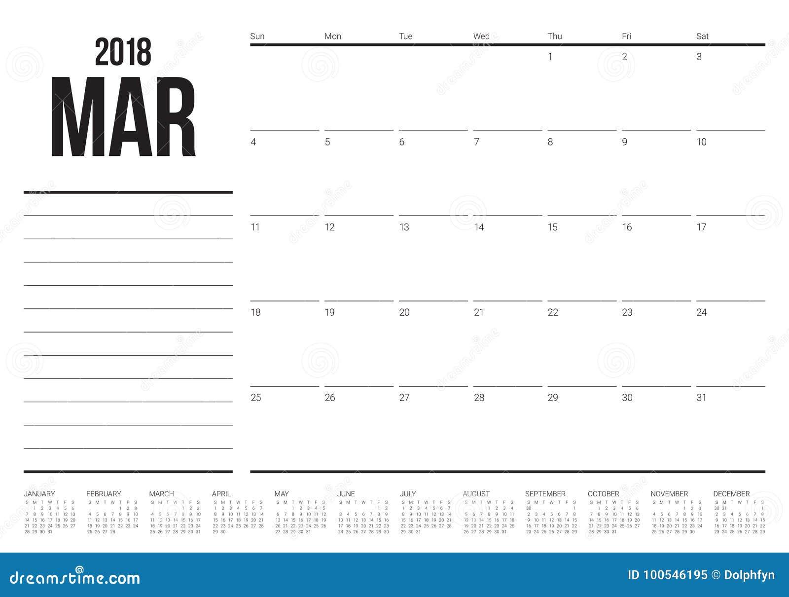 March 2018 calendar planner vector illustration