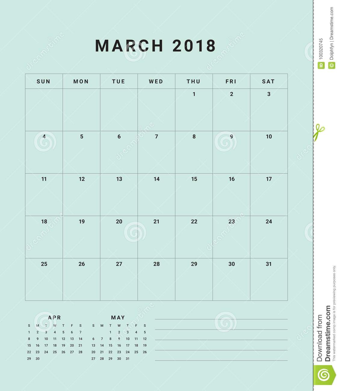March 2018 desk calendar vector illustration