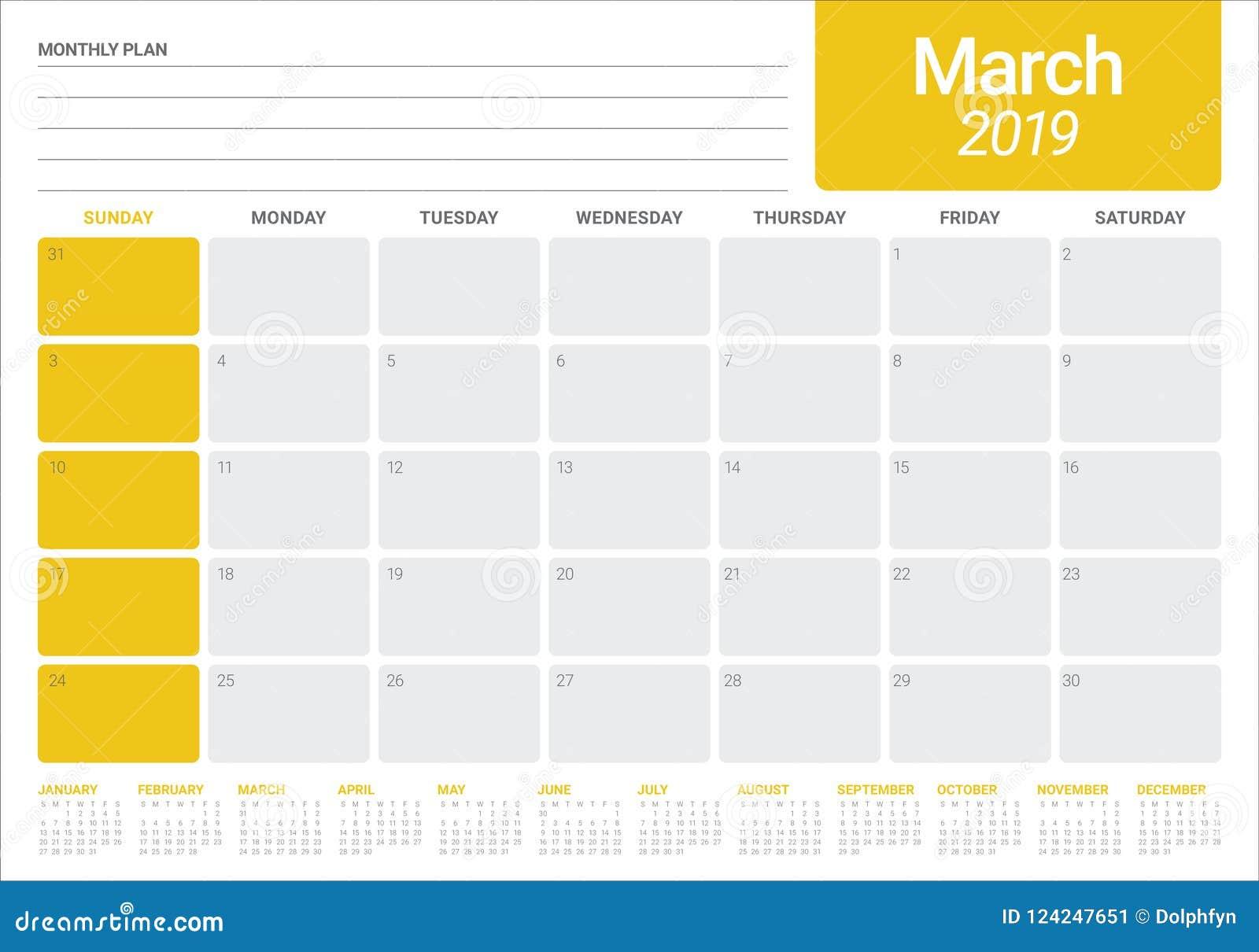 March 2019 Desk Calendar Vector Illustration Stock Vector