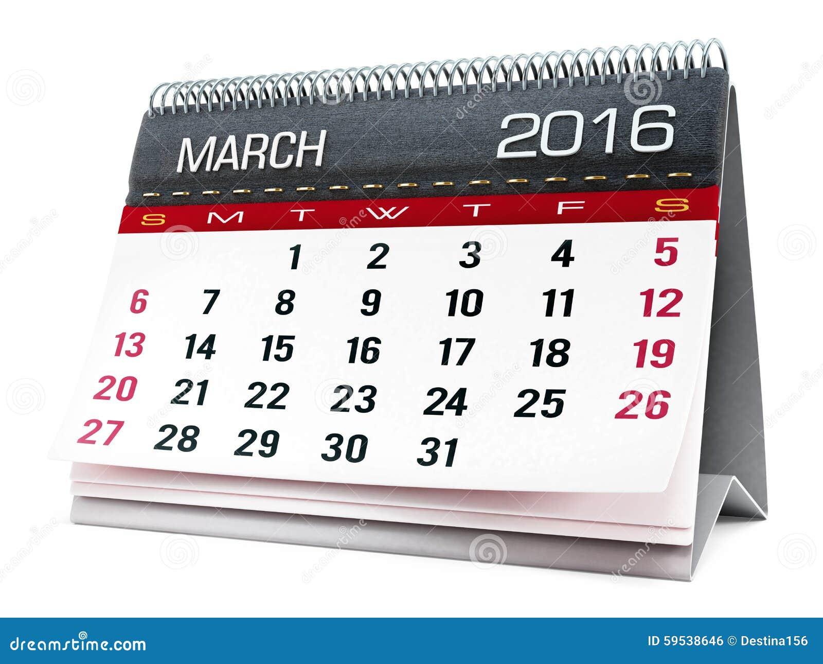 March 2016 desktop calendar