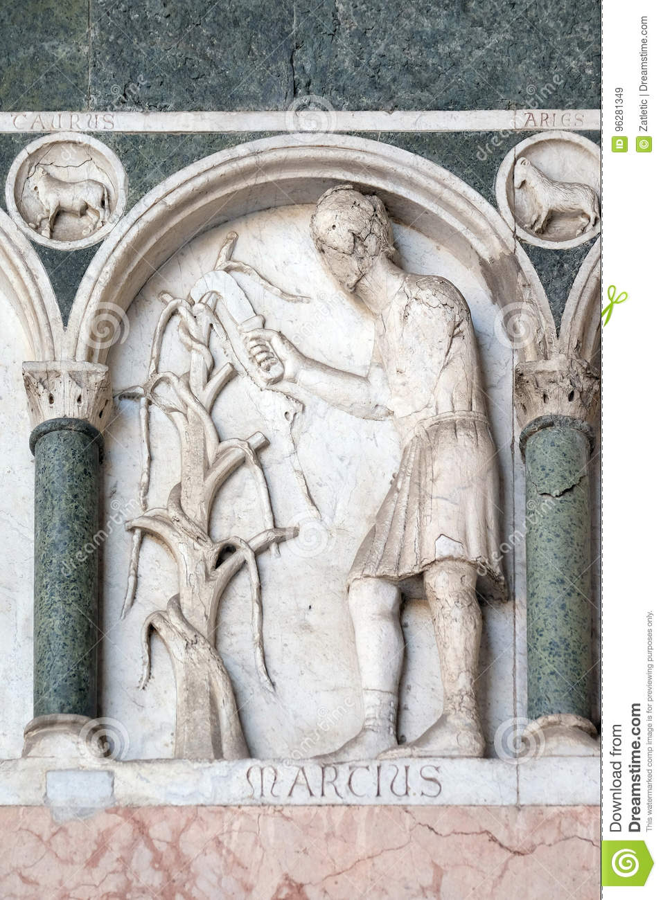 March, detail of the bass-relief representing the Labor of the months of the year, Cathedral in Lucca, Italy