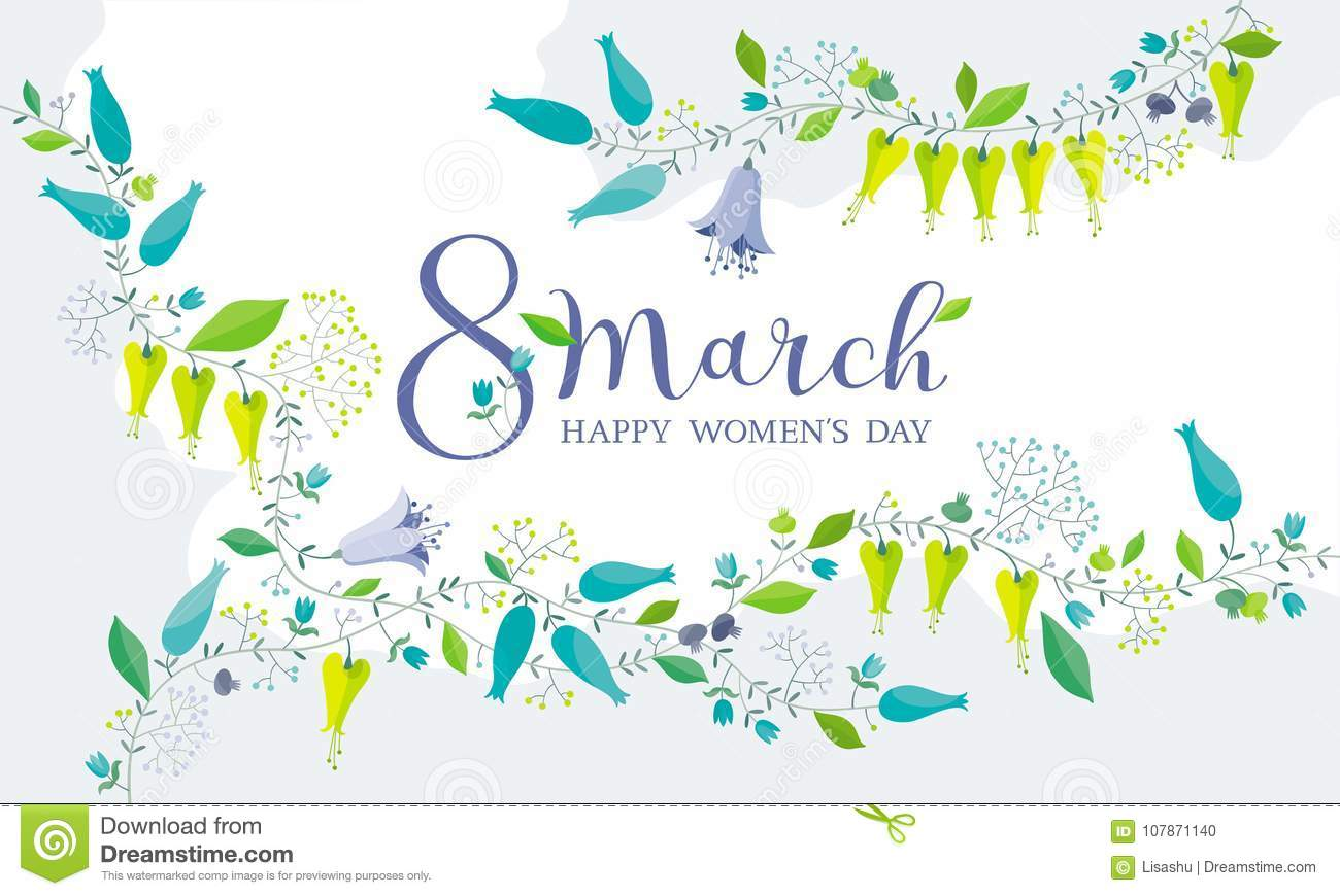 8 March flower greeting card