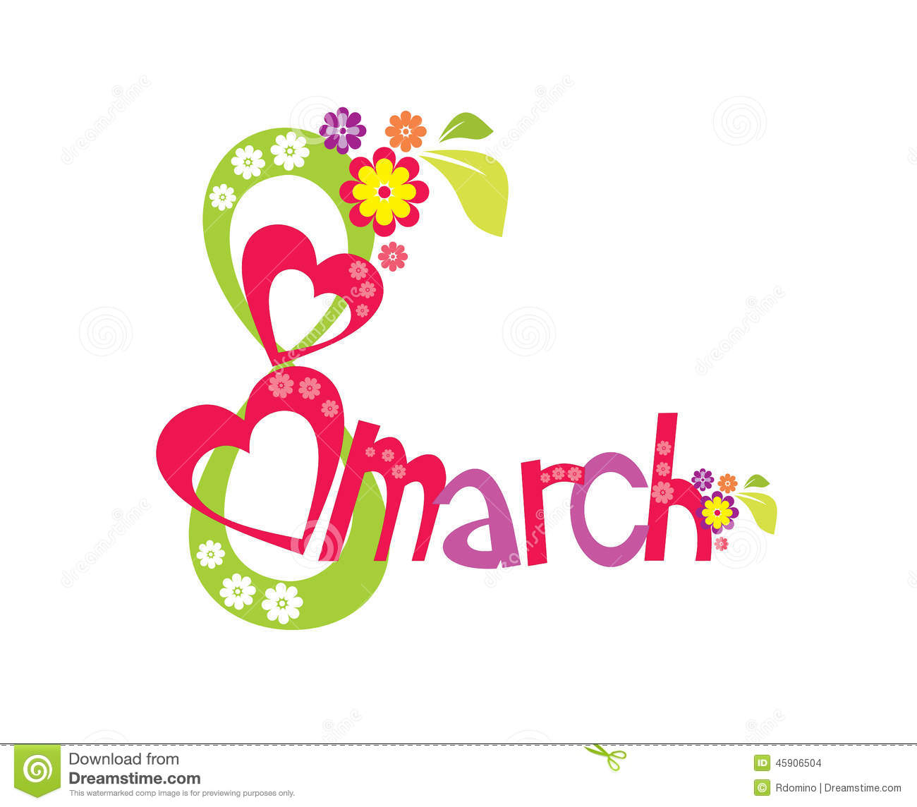 8 March With Flowers And Heart Womens Day Card White Background Illustra