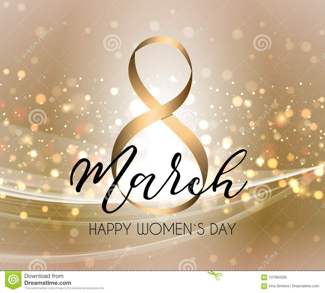 March 8 greeting card. Background template for International Womens Day.