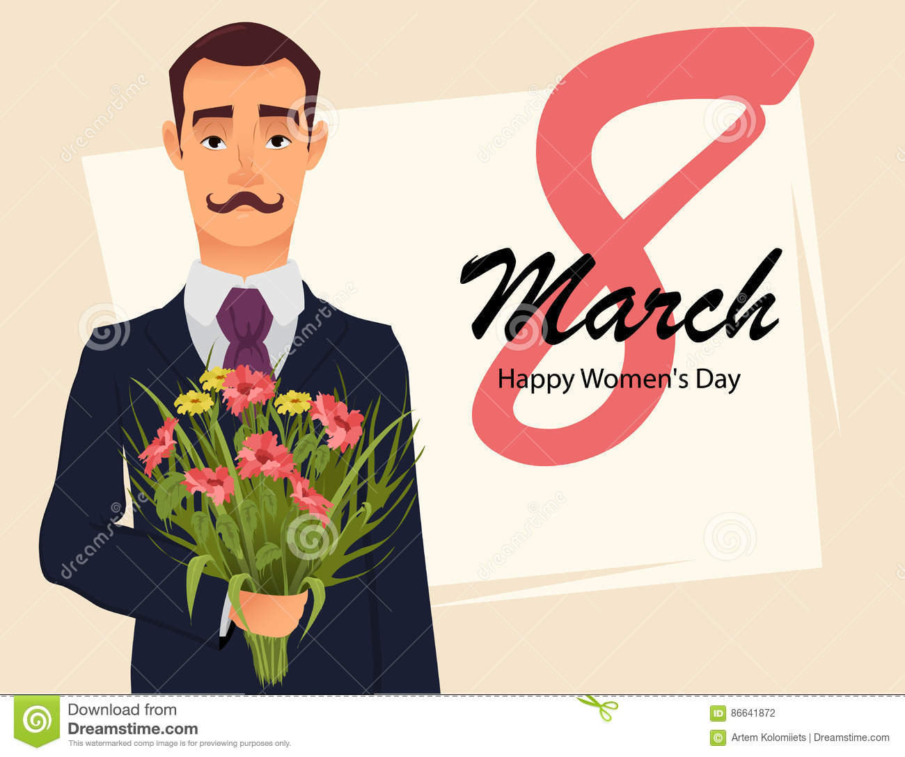 8 March greeting card. Women`s day greeting card. Handsome gentleman in suit with mustache holding bouquet of wildflowers