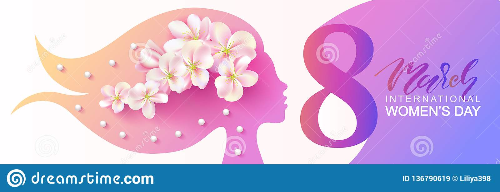 8 March Happy Women s Day banner. Beautiful Background with female silhouette ,flowers and beads.Vector illustration for