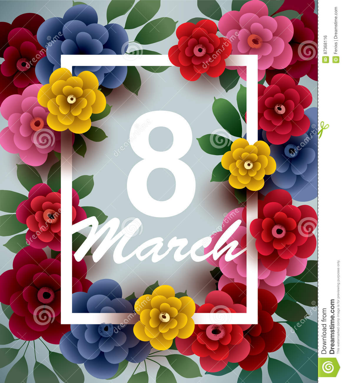 8 March. Happy Women`s Day card with flowers and frame
