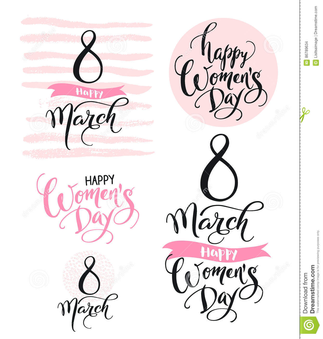 8 March. Happy Women`s Day. Collection of beautiful handwritten words and hand drawn elements in pink color. Vector