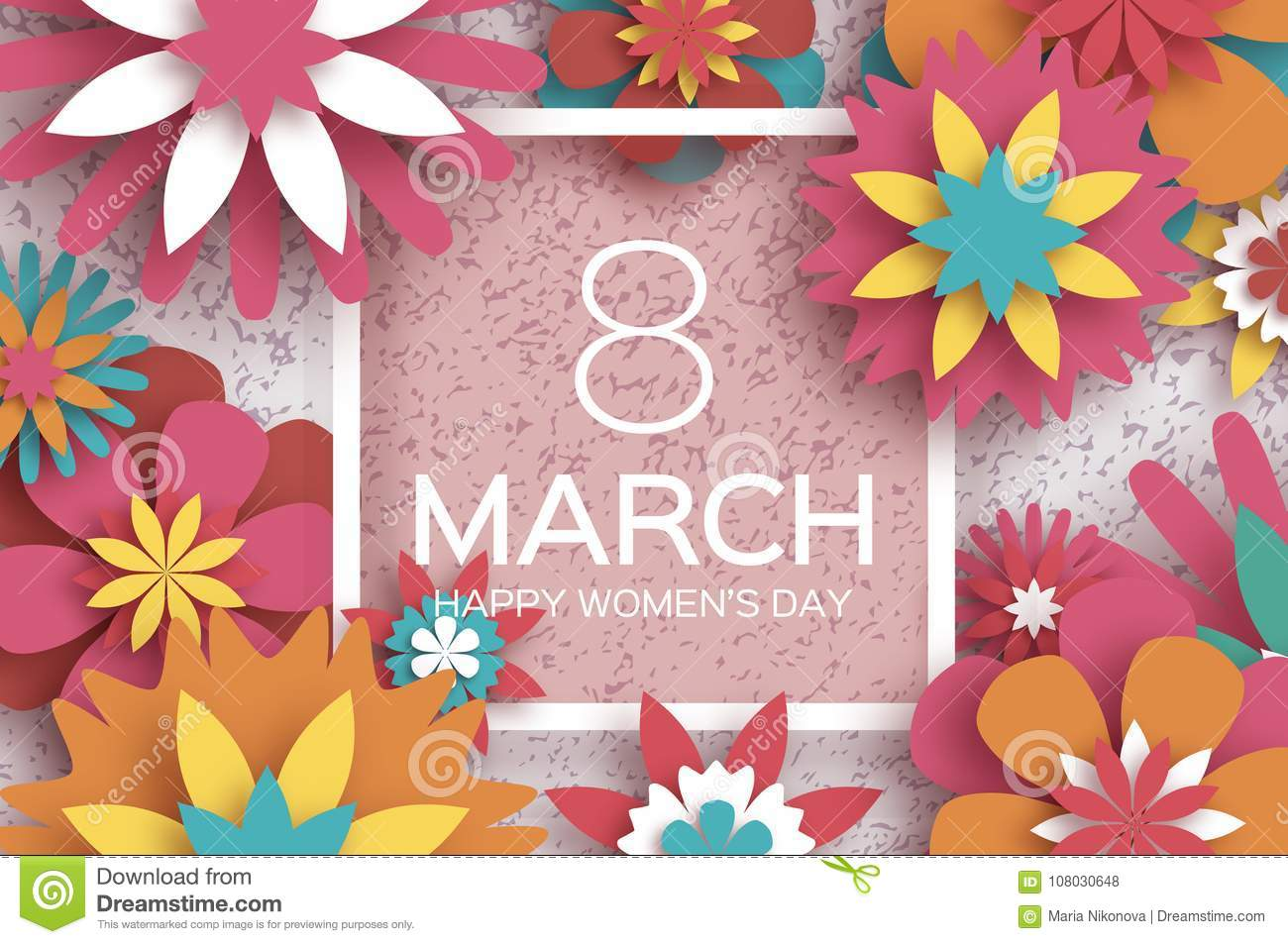 8 march happy women s day red paper cut floral greeting card 8 march happy women s day red paper cut floral greeting card origami flowersquare frame space for text happy mother s day text spring blossom mightylinksfo