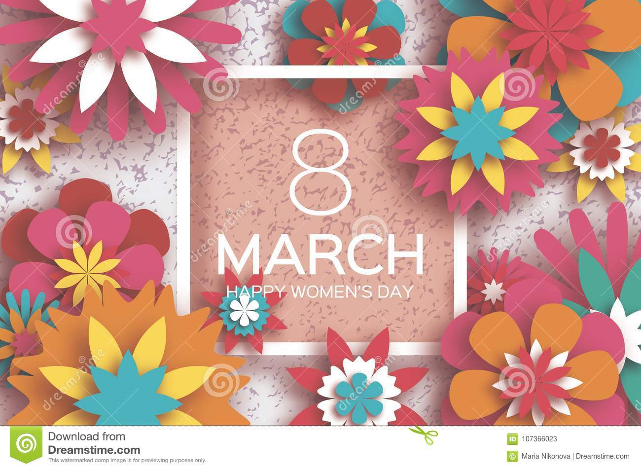 8 March Happy Womens Day Red Paper Cut Floral Greeting Card