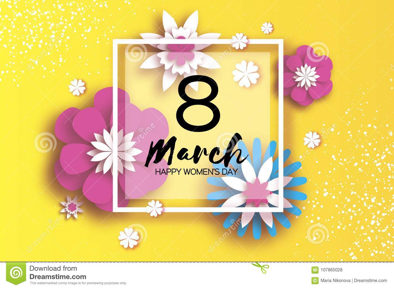 8 March. Happy Women`s Mother`s Day. Floral Greeting Card. Paper cut Flowers. Origami flower. Square frame. Text. Eight
