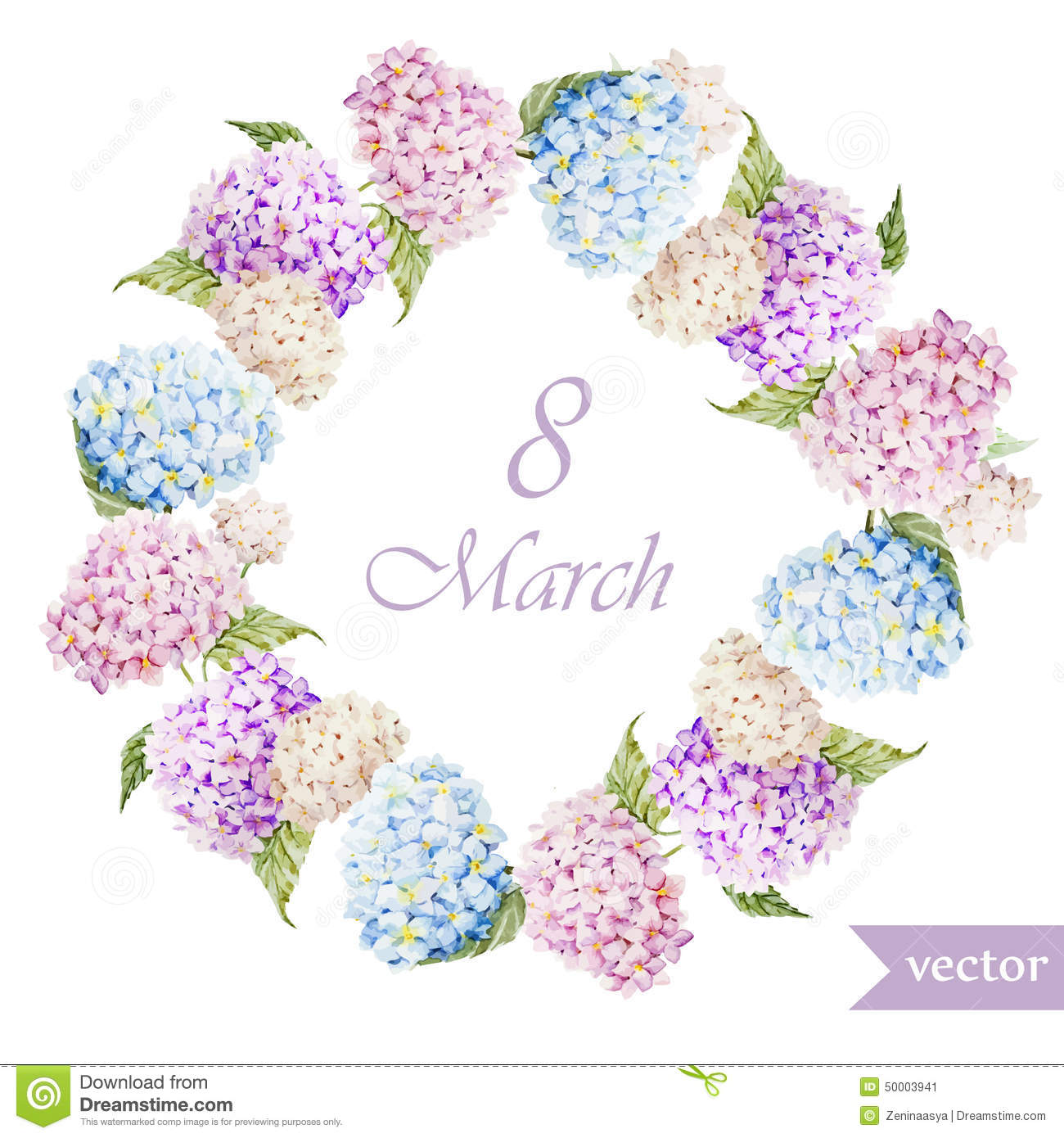 March 8 Hydrangea Wreath Flowers3 Stock Illustration