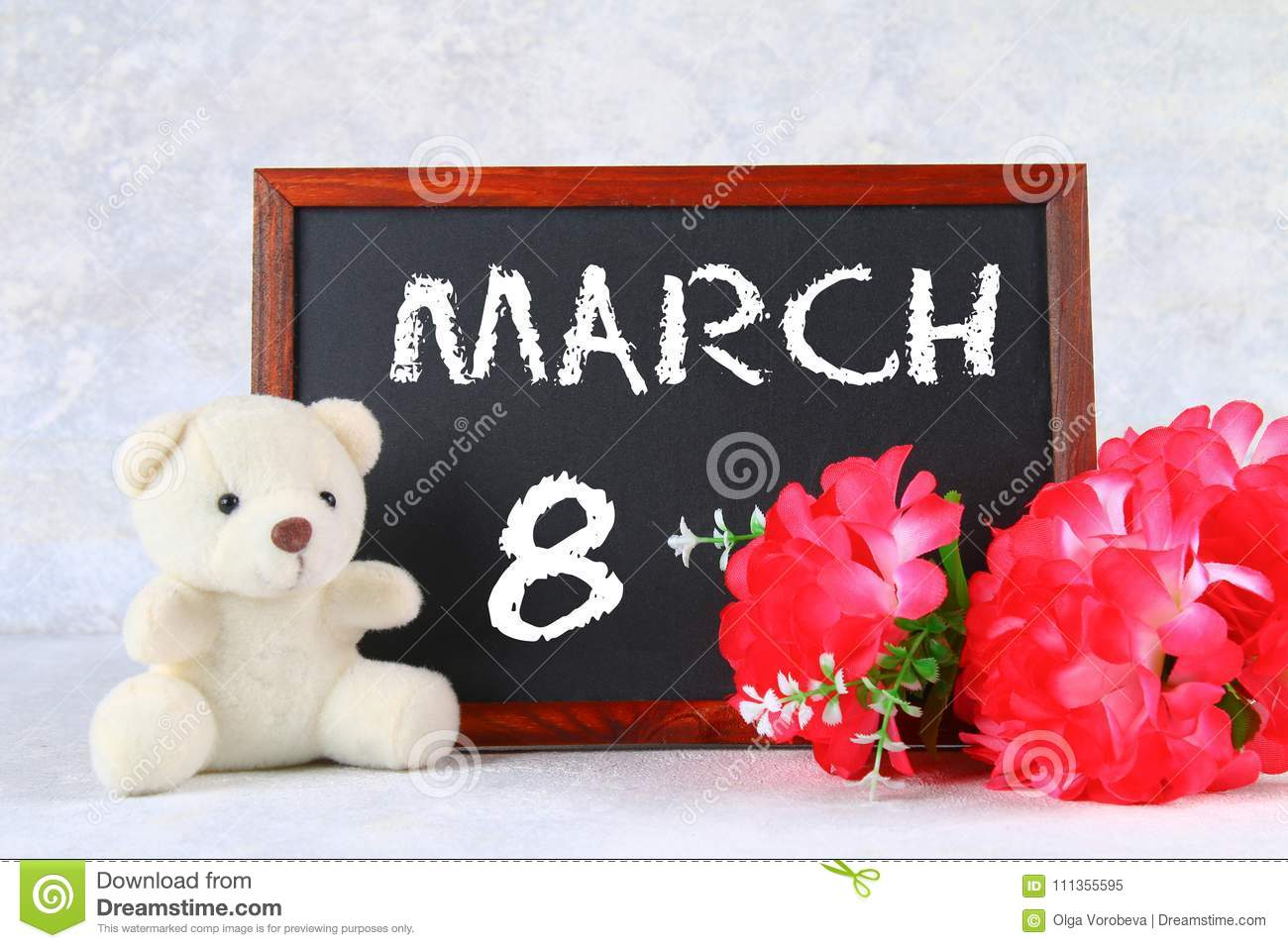 March 8 International Womens Day Chalkboard With Pink Flowers And