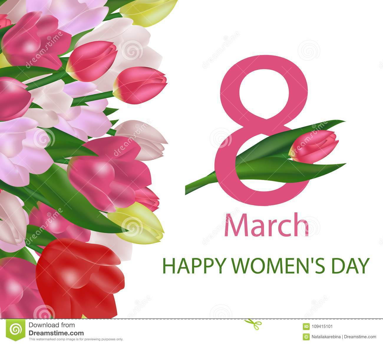 March 8 International Women S Day Greeting Card Template With