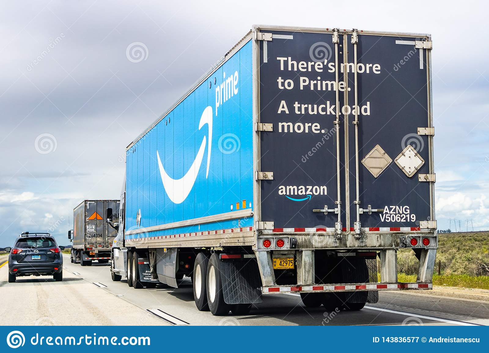 March 20, 2019 Los Angeles / CA / USA - Amazon truck driving on the interstate, the large Prime logo printed on the side