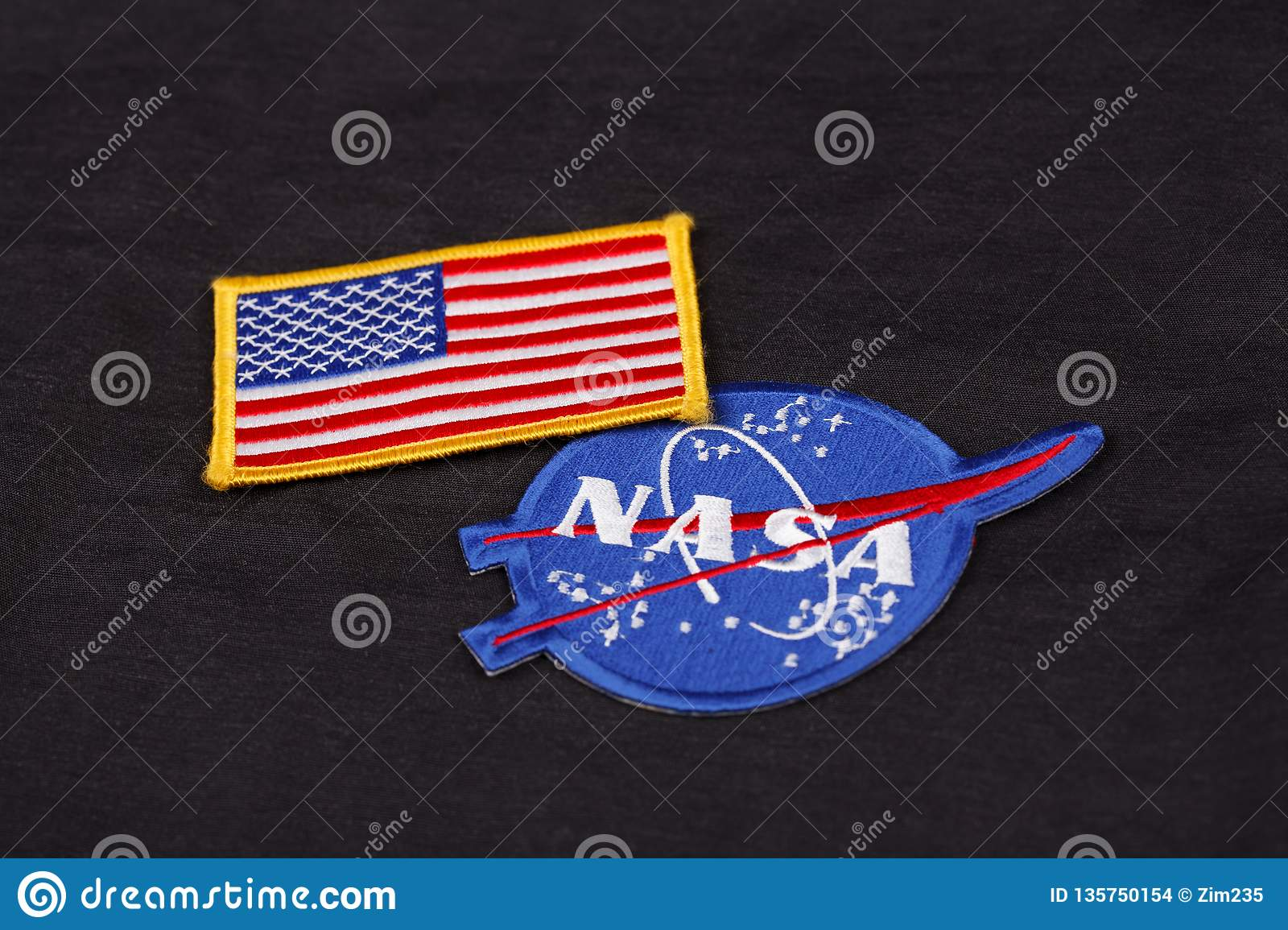 15 March 2018 - The National Aeronautics and Space Administration (NASA) emblem patch and US Flag patch on black uniform