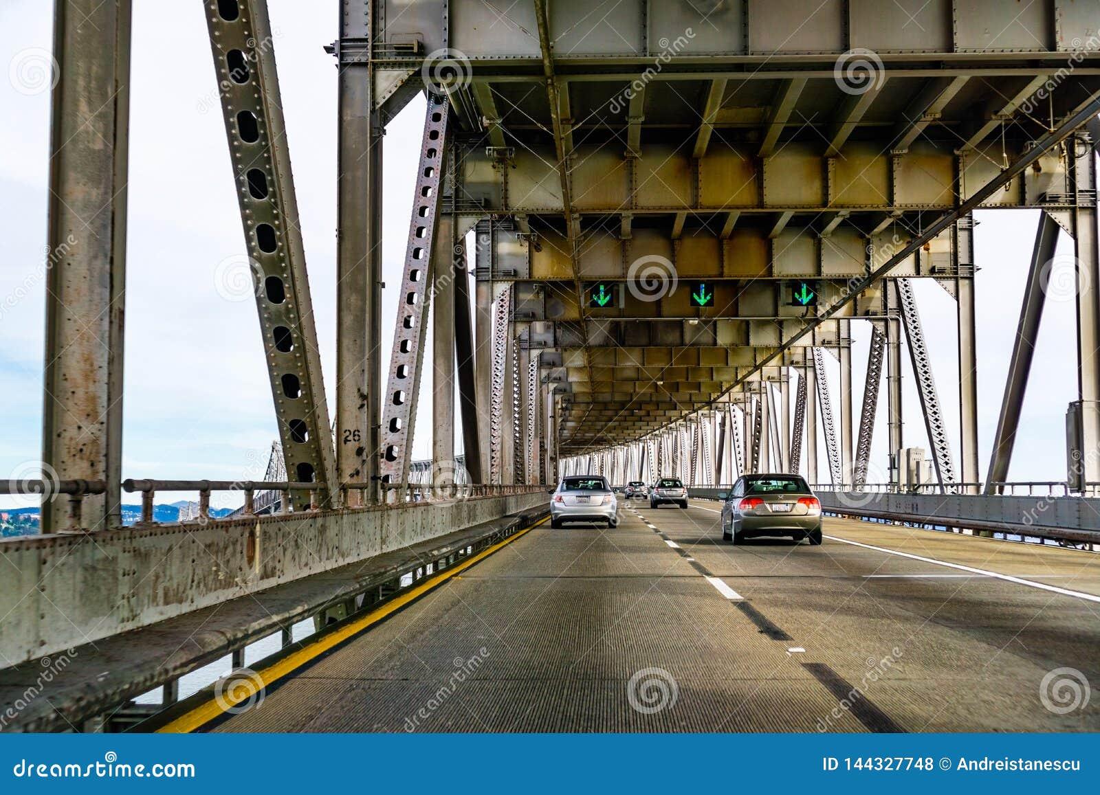 March 31, 2019 Richmond / CA / USA - Driving on Richmond - San Rafael bridge John F. McCarthy Memorial Bridge, San Francisco bay