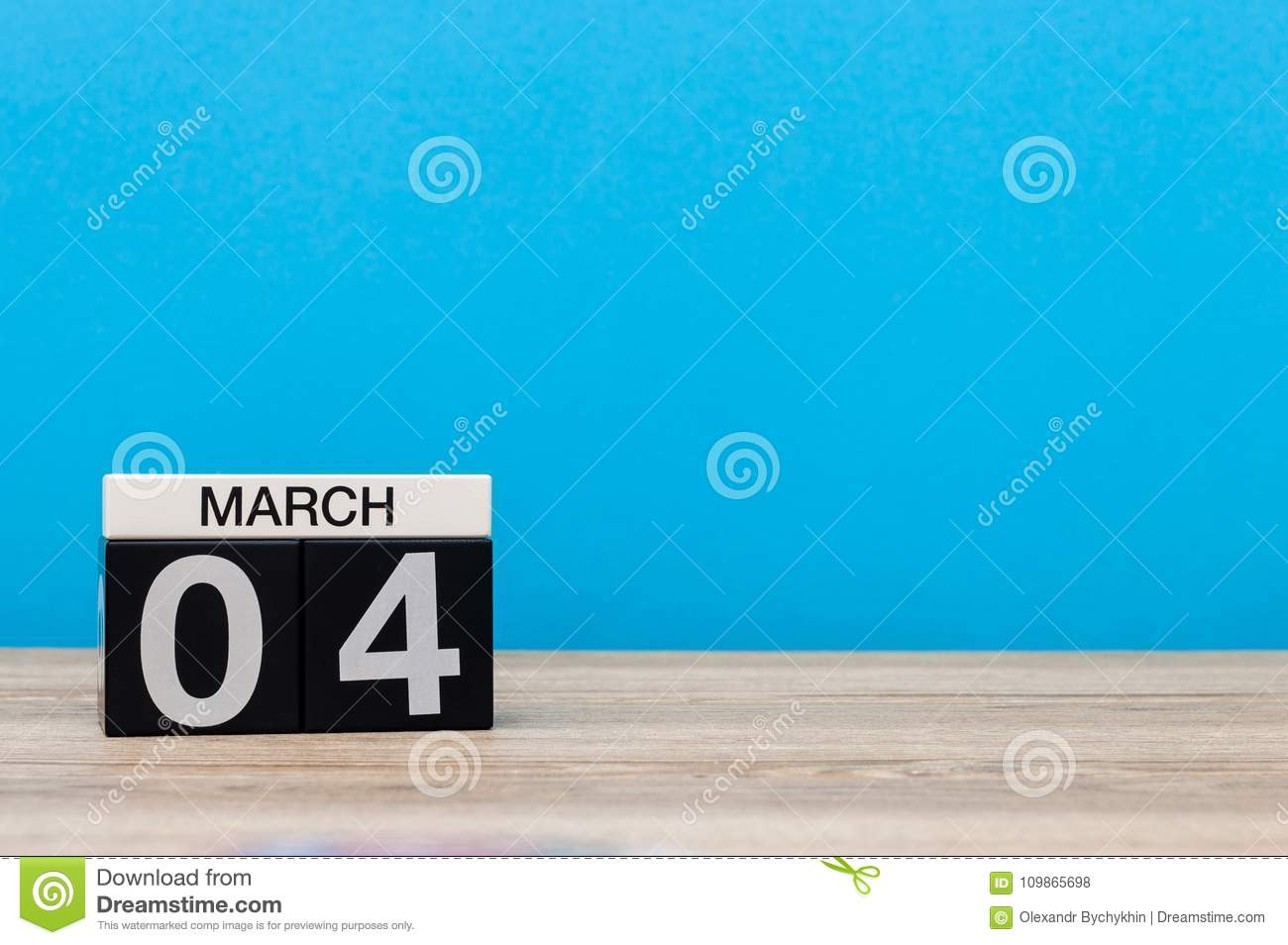 March 4th. Day 4 Of Month,Simple Calendar Icon On White