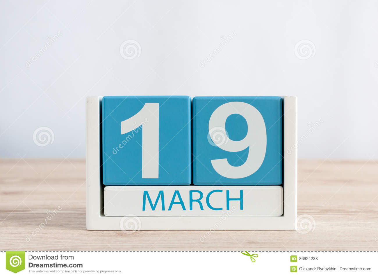 March 19th Day 19 Of Month Daily Calendar On Wooden Table Background Spring