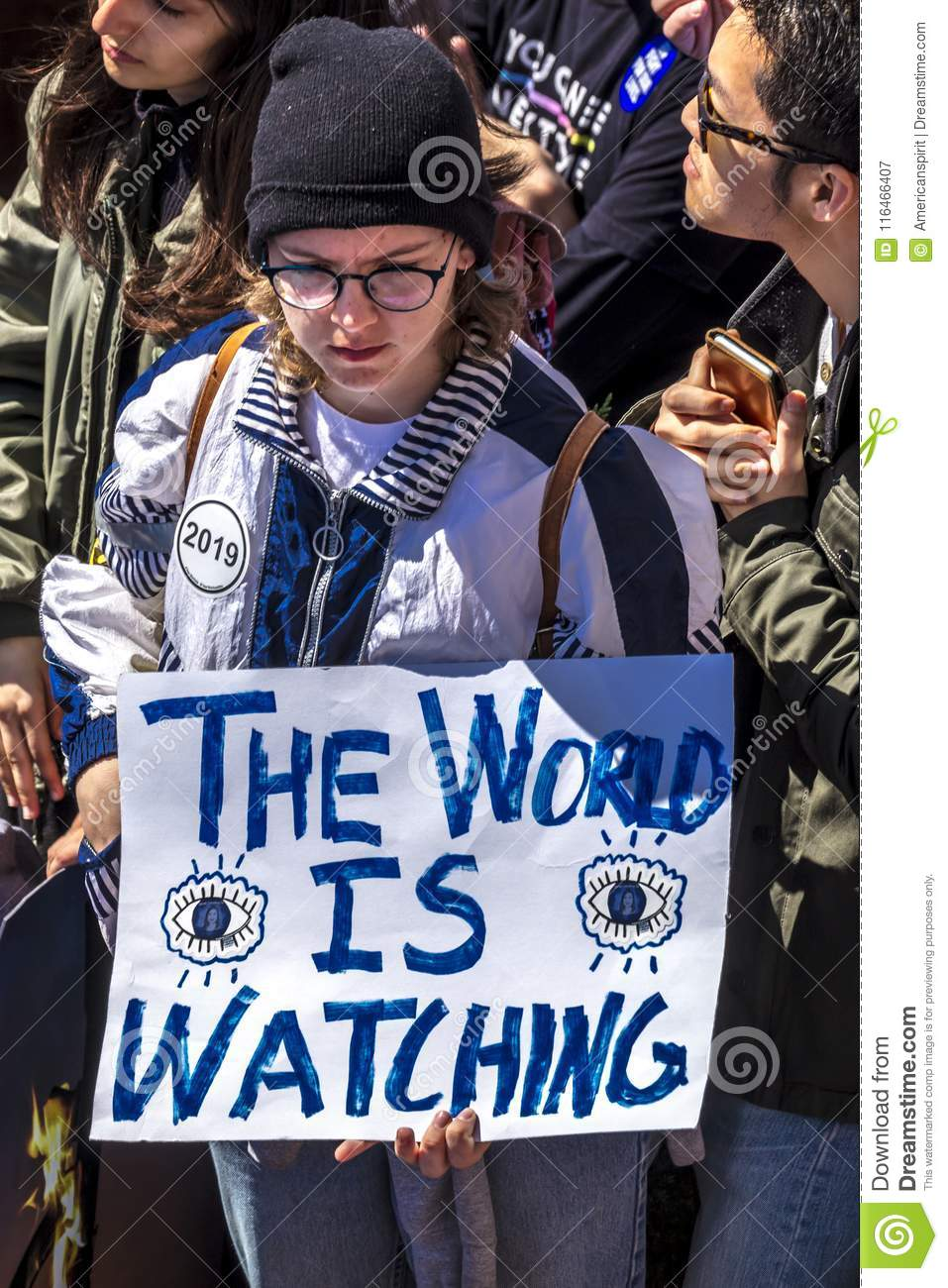 MARCH 24, 2018: Washington, D.C. hundreds of thousands protest against NRA on Pennsylvania Avenue. Against, our