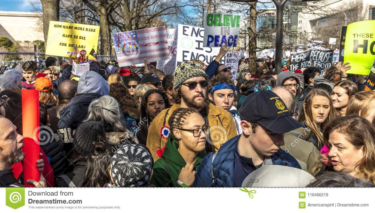 MARCH 24, 2018: Washington, D.C. hundreds of thousands protest against NRA on Pennsylvania Avenue. We, Florida