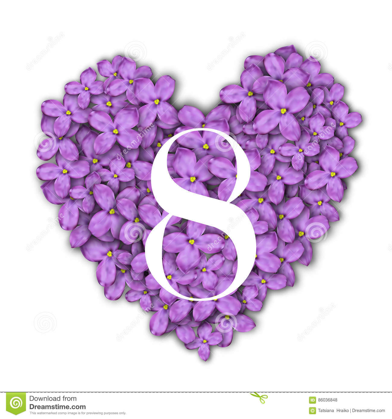 8 March Women`s Day greeting card template. Number 8 at the heart of a lilac background. Congratulations on March 8