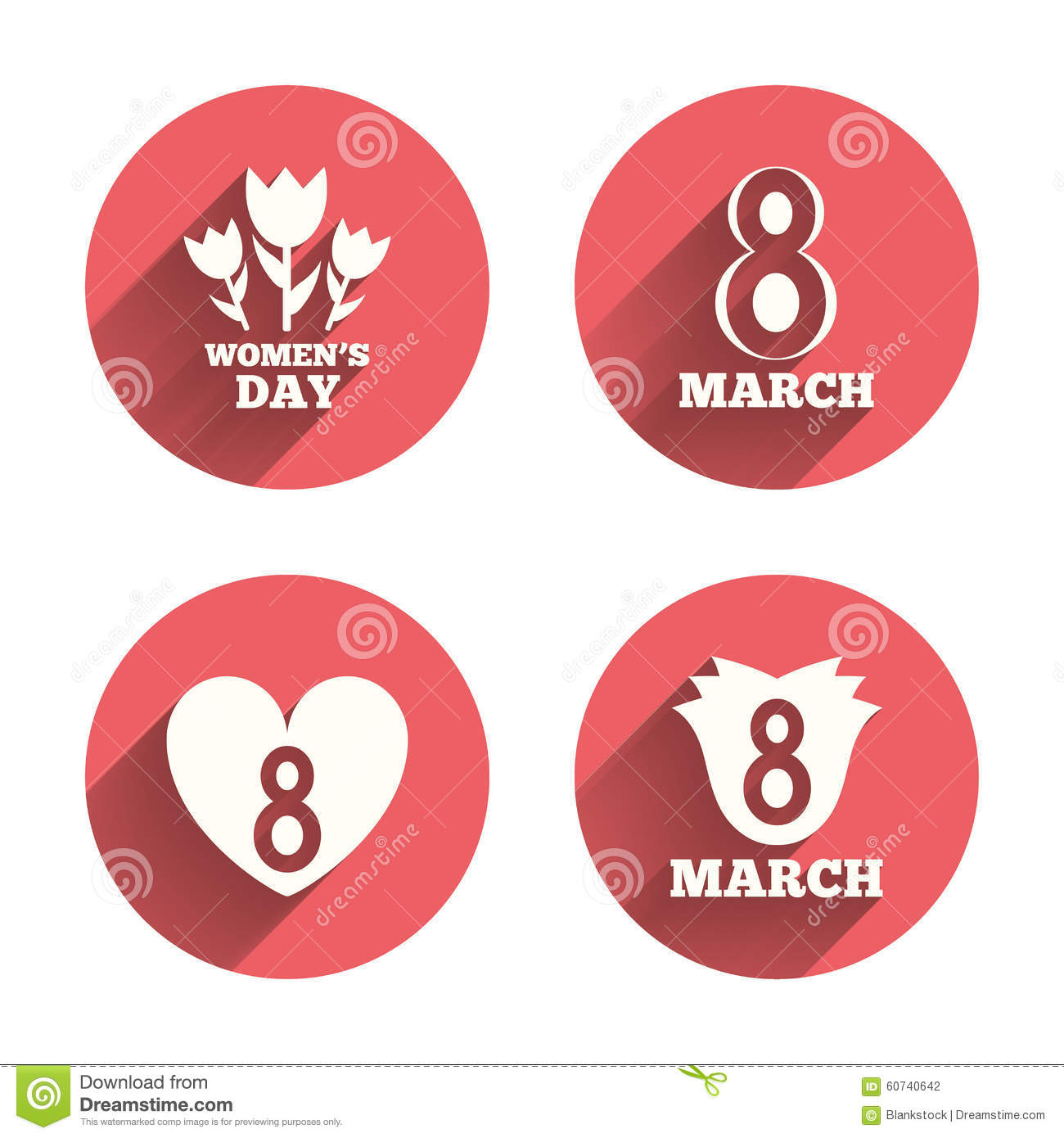 8 March Womens Day Icons Flower Heart Symbols Stock Vector