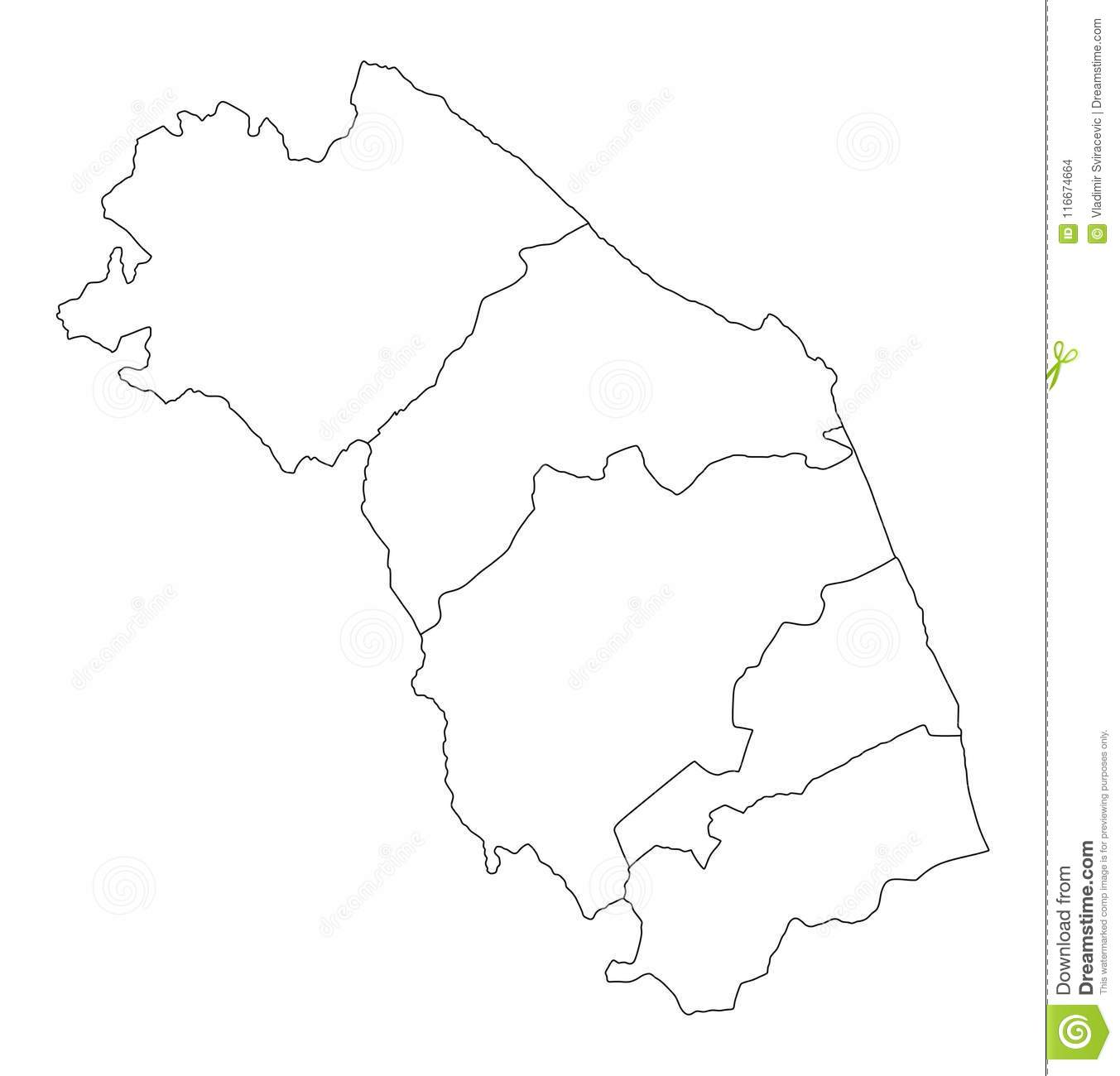 Marche Map Italy Province Vector Contour Stock Illustration