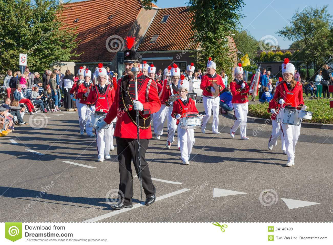 Marching band walking in a Dutch countryside parad