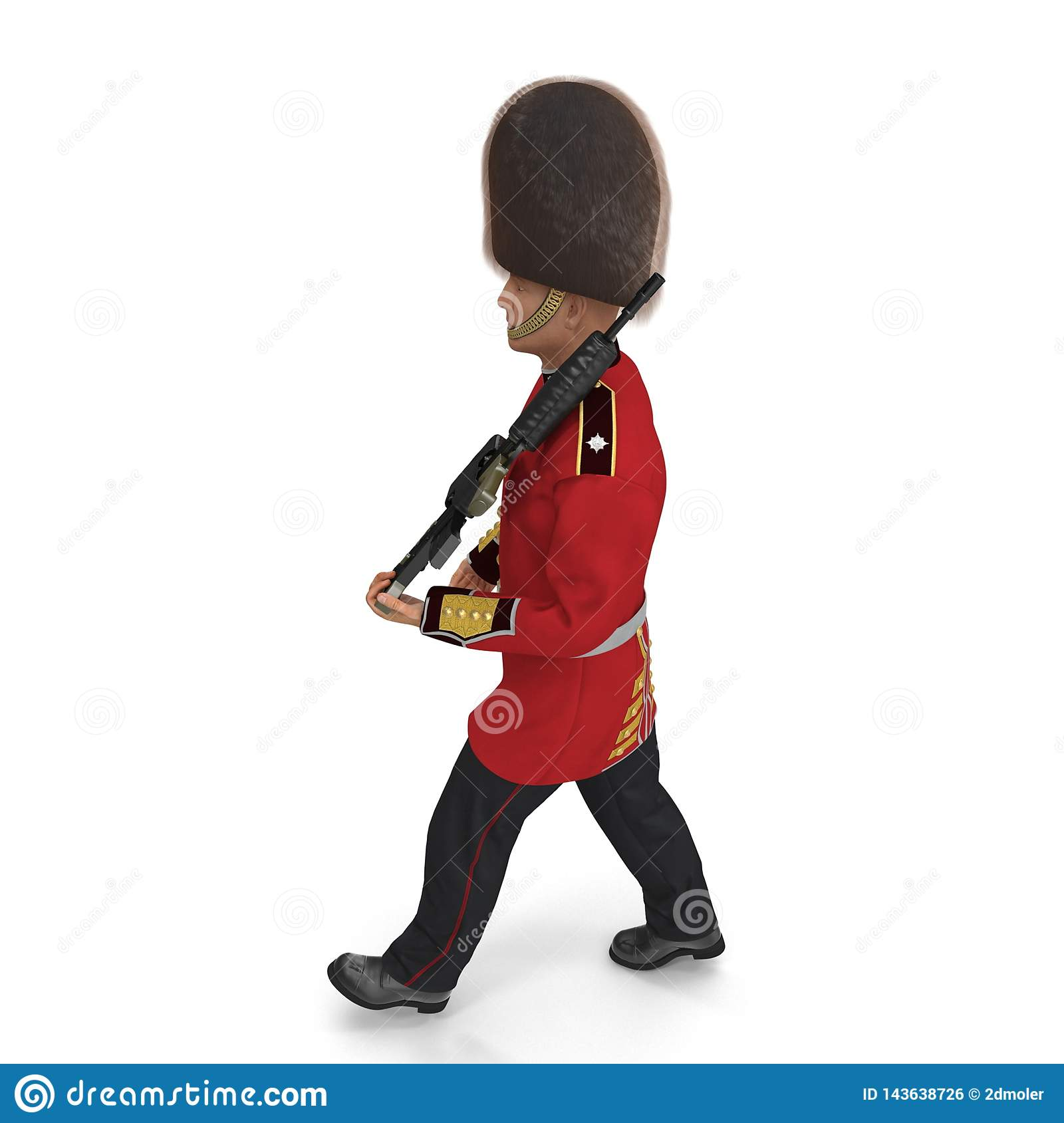 Marching British Royal Guard Holding Gun Isolated on White Background 3D Illustration