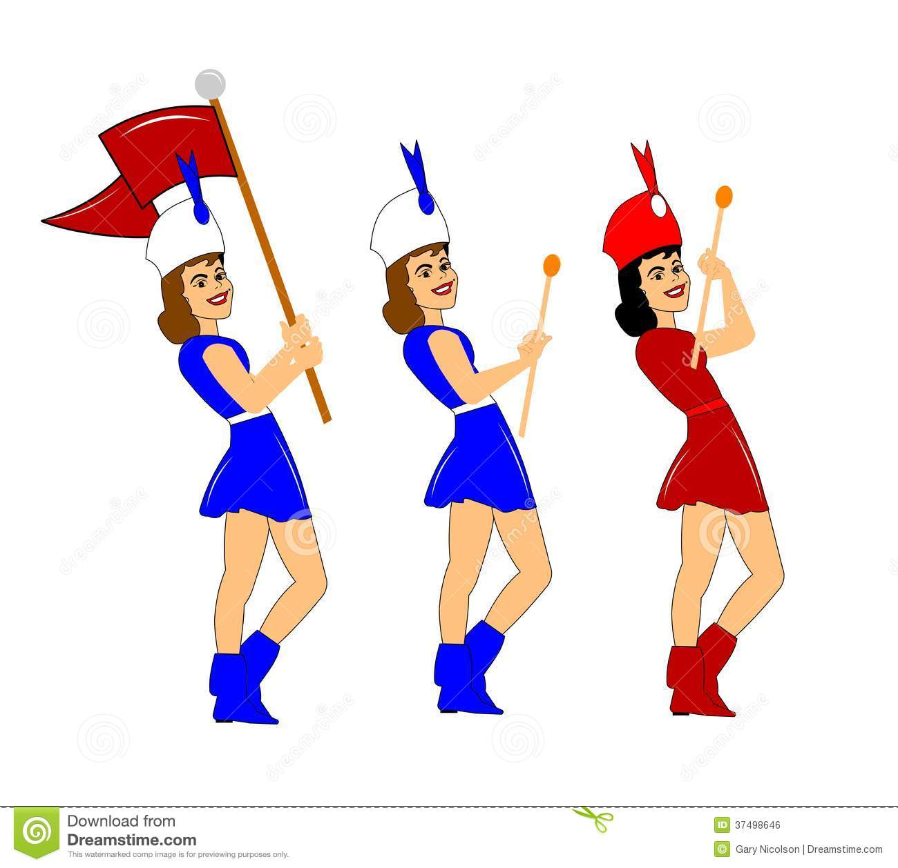 Marching Band Hat Cartoon Marching Majorettes Ro...
