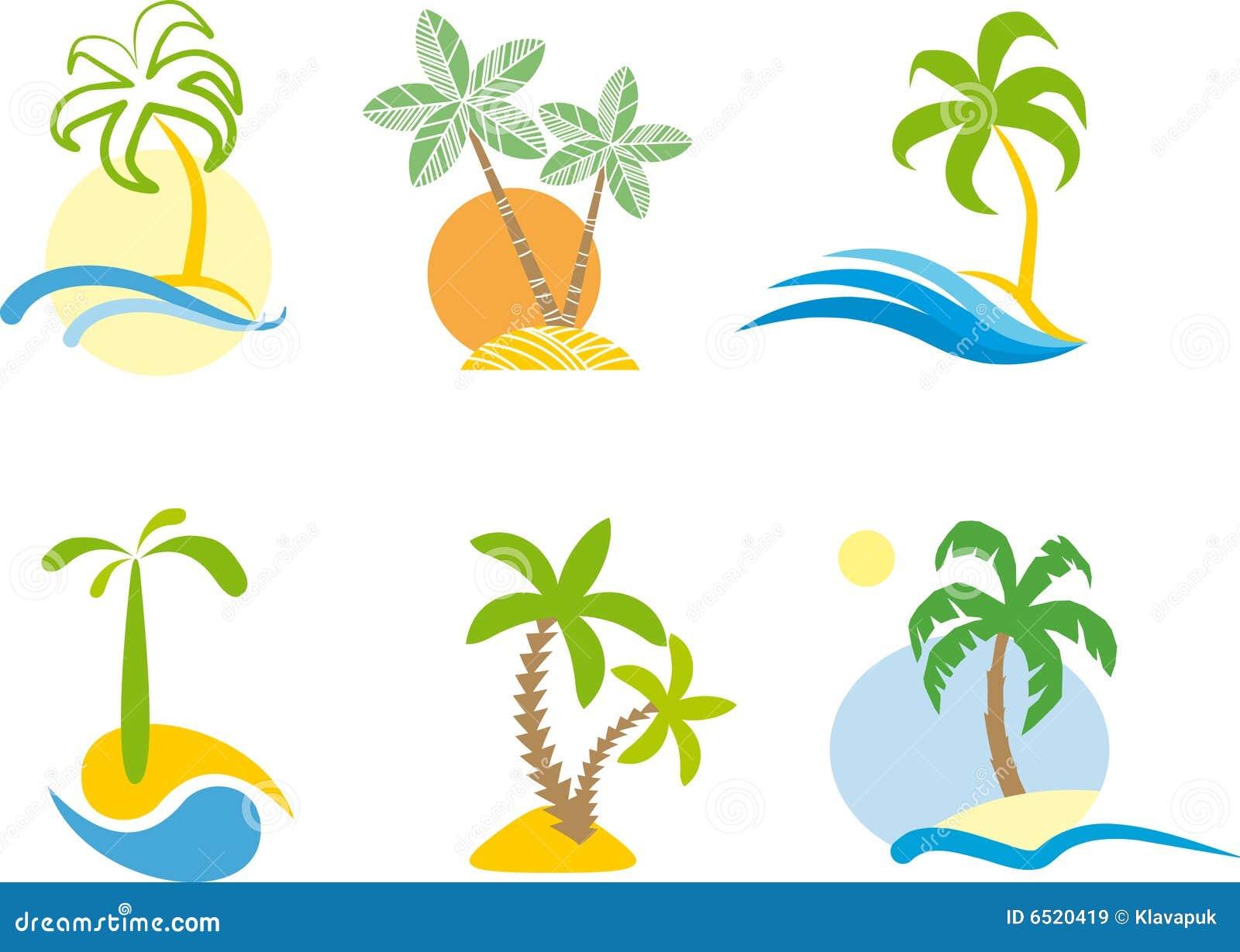 Marchio tropicale (grafico di scena della spiaggia.)