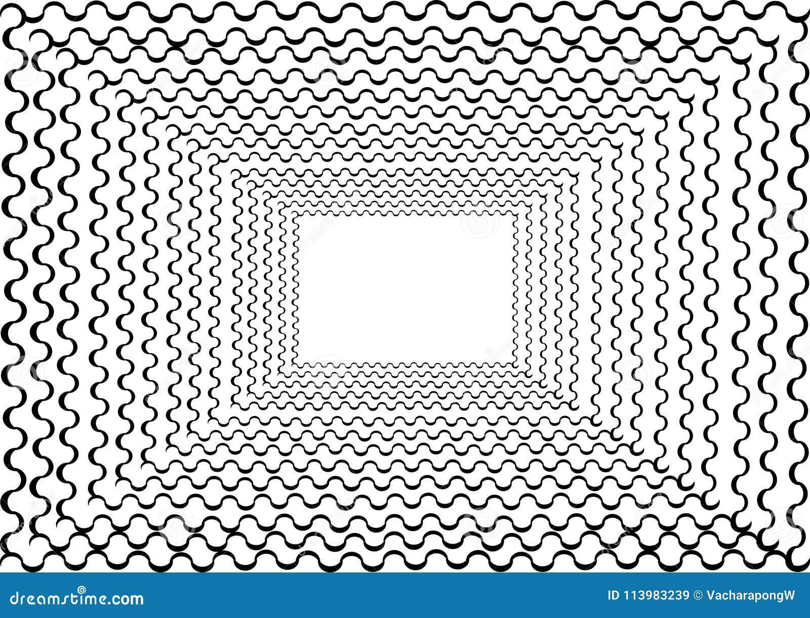 Marco abstracto del túnel con la línea rizada alrededor
