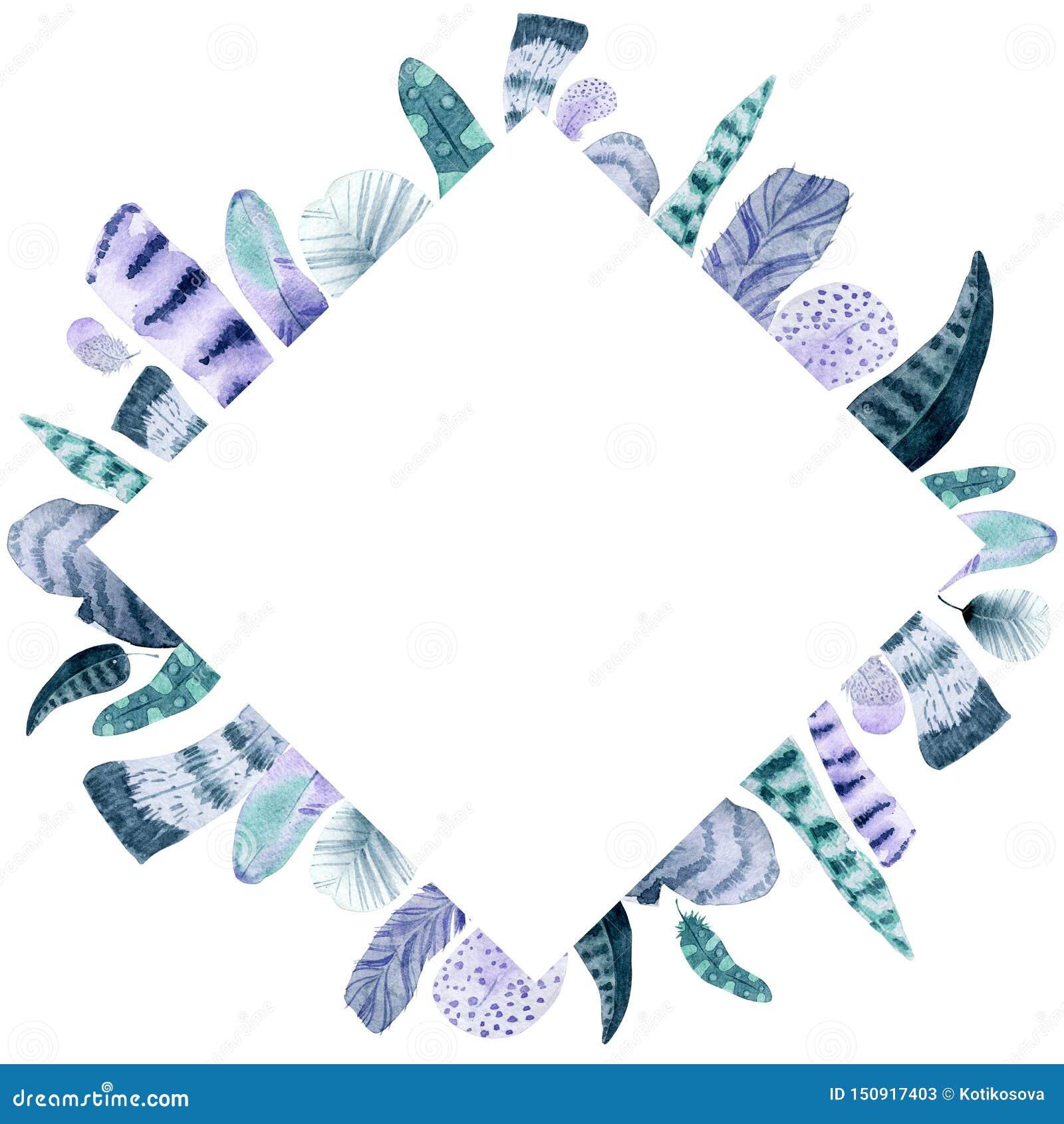 Marco aislado acuarela del Rhombus de la pluma