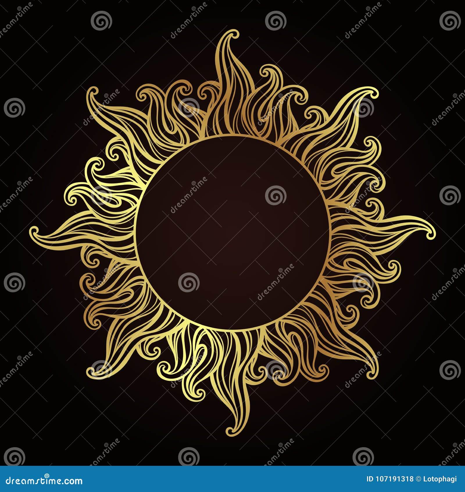 Marco antiguo adornado del estilo de la aguafuerte del oro en una forma del sol