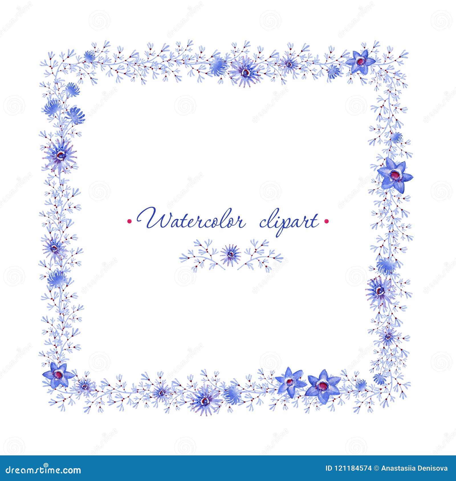 Marco Azul Cuadrado Floral Cliparts Para Casarse El Diseño, Creación ...