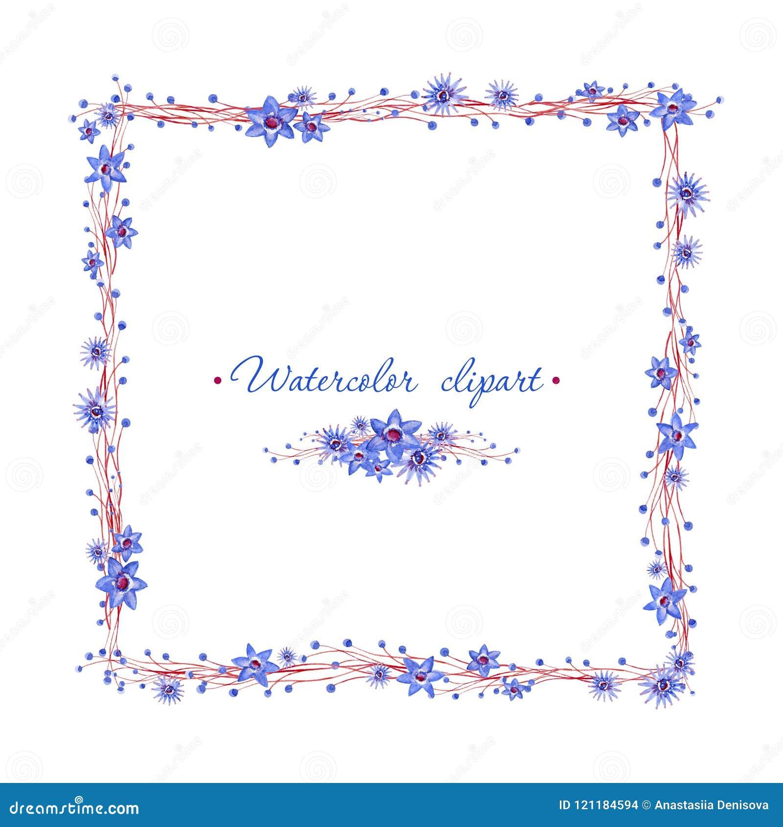 Marco Azul Cuadrado Floral Con Las Ramas Marrones Cliparts Para ...