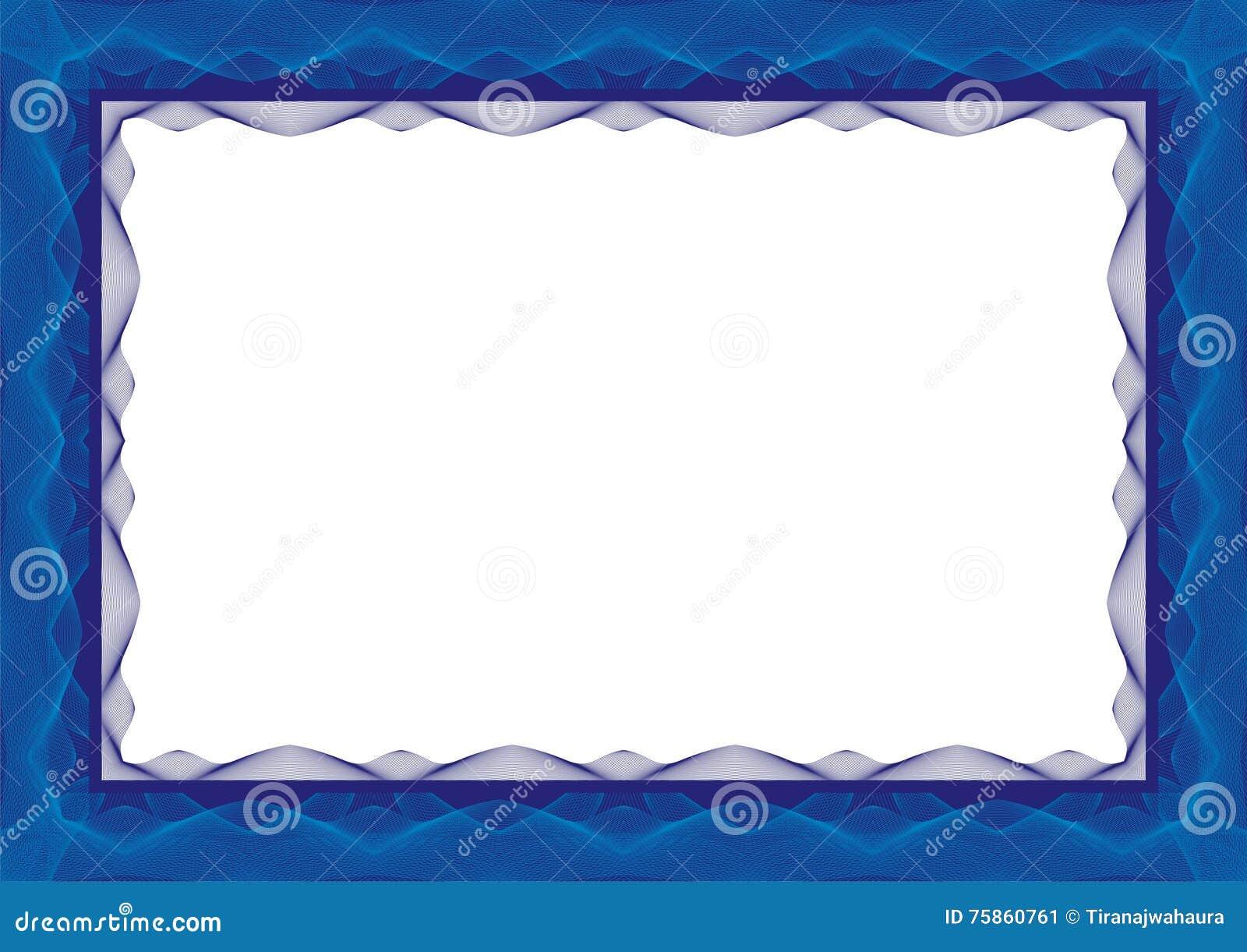 Marco Azul De La Plantilla Del Certificado O Del Diploma - Frontera ...