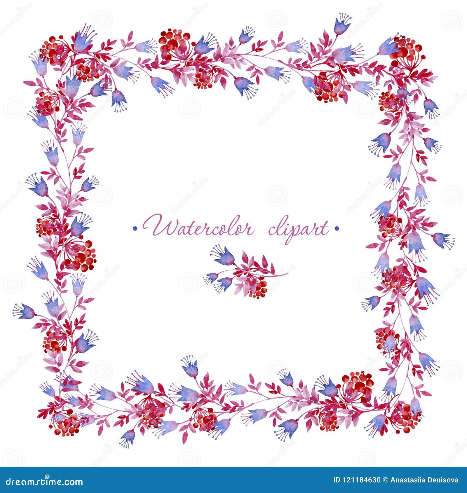 Marco Azul, Rosado Y Rojo Cuadrado Floral Cliparts Para Casarse El ...