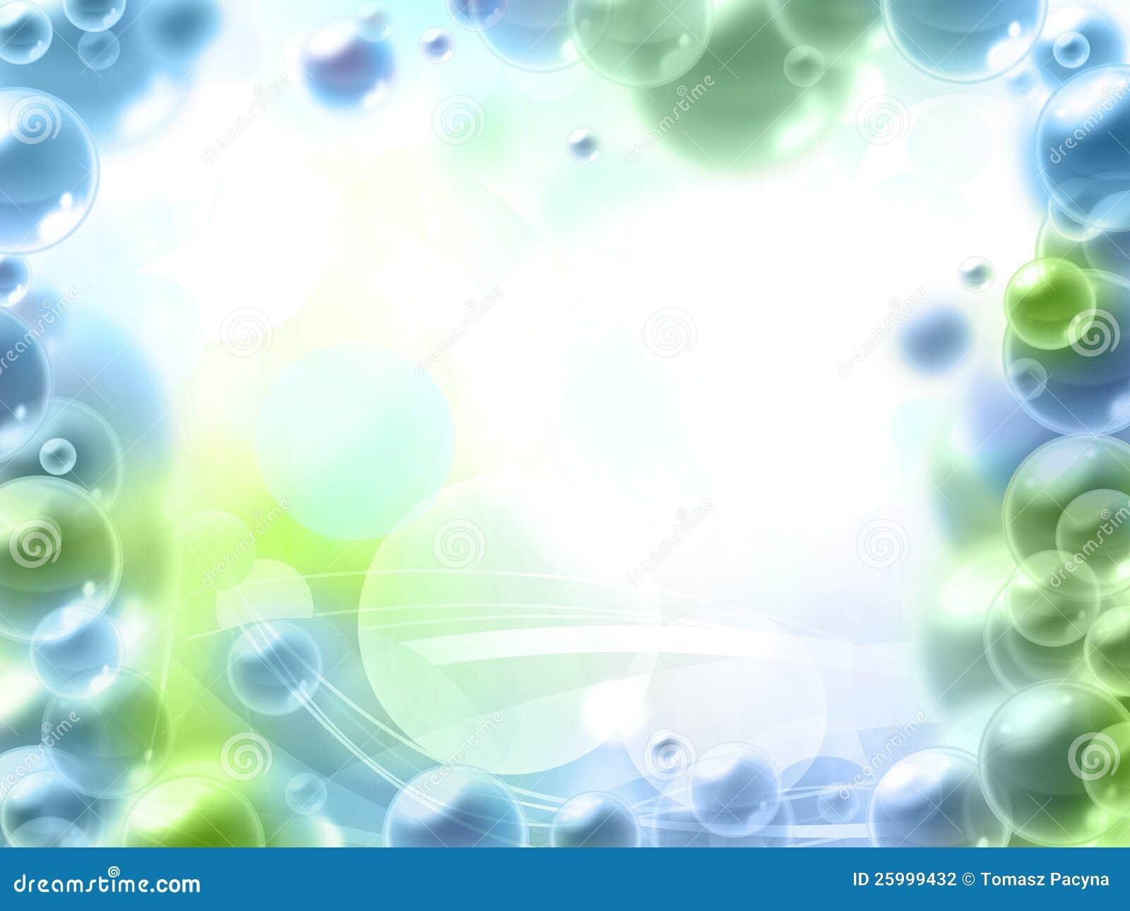 Marco Azul Y Verde Hermoso De Las Burbujas Stock de ilustración ...