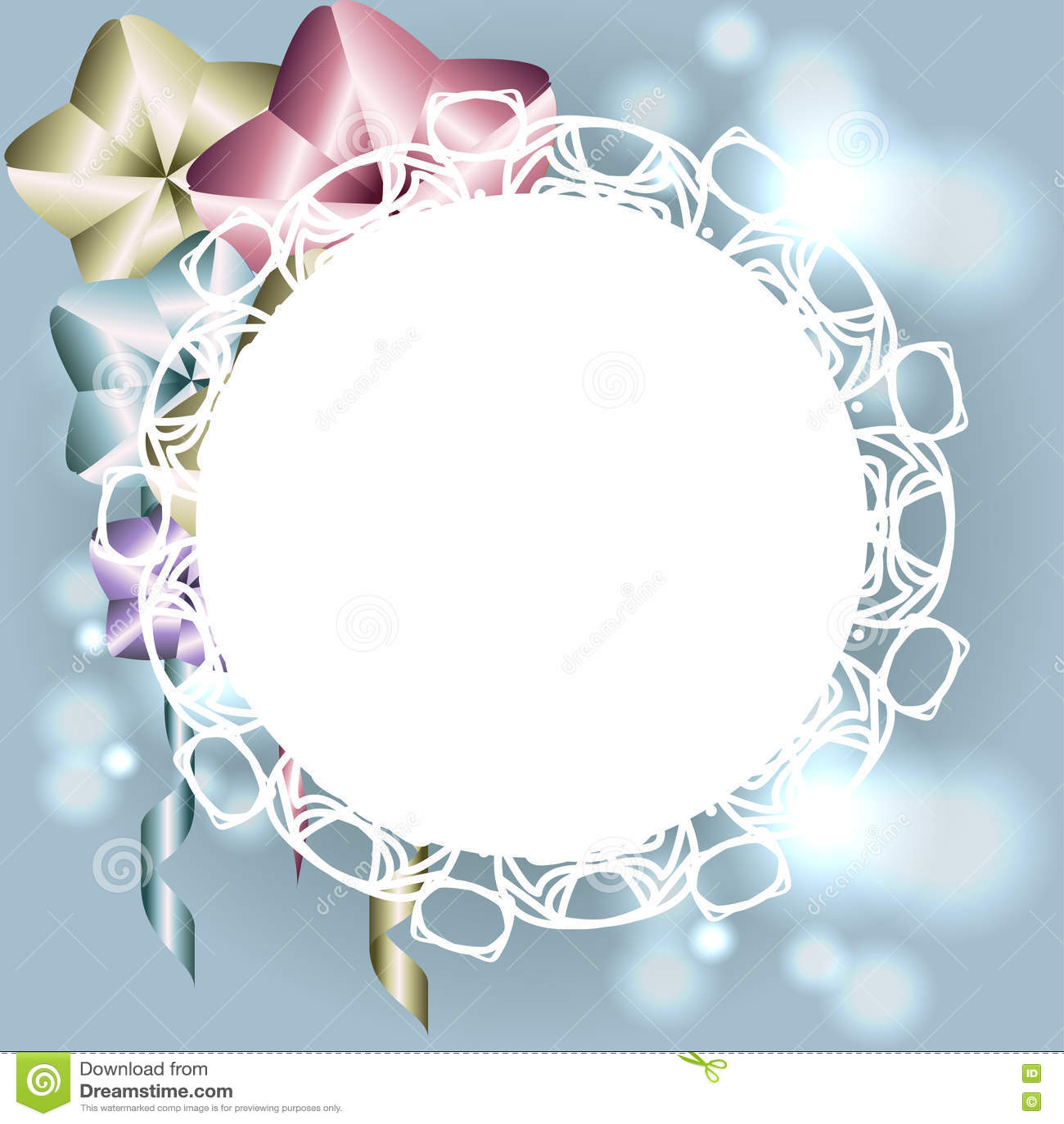 Marco Blanco Con Los Ornamentos Para La Invitación Tarjeta