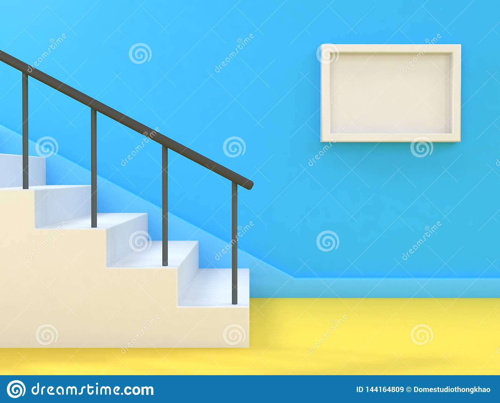 Marco blanco 3d del fondo del espacio en blanco abstracto mínimo de la escalera-escalera rendir la pared azul
