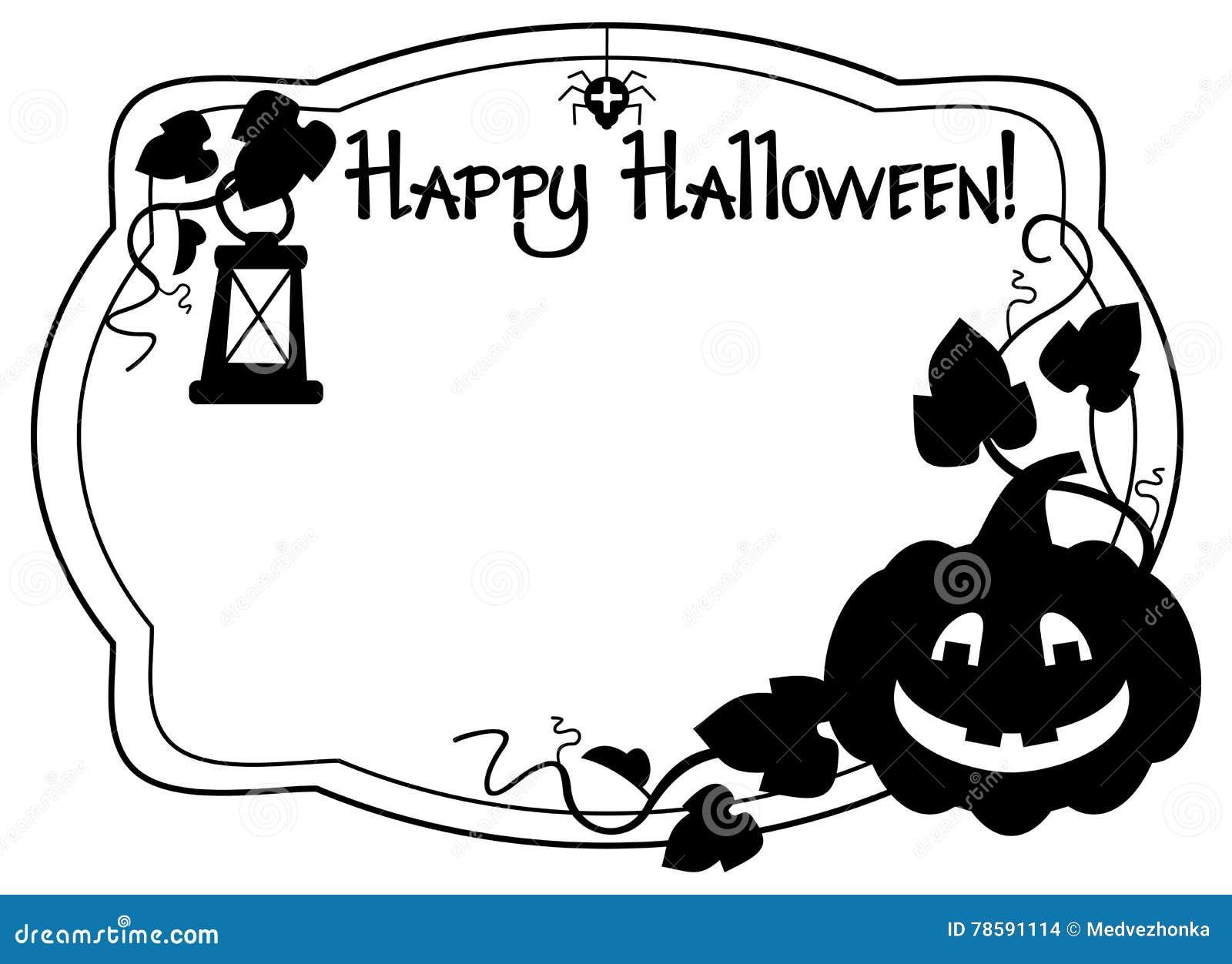 Marco Blanco Y Negro Con La Silueta De La Calabaza De Halloween Foto ...