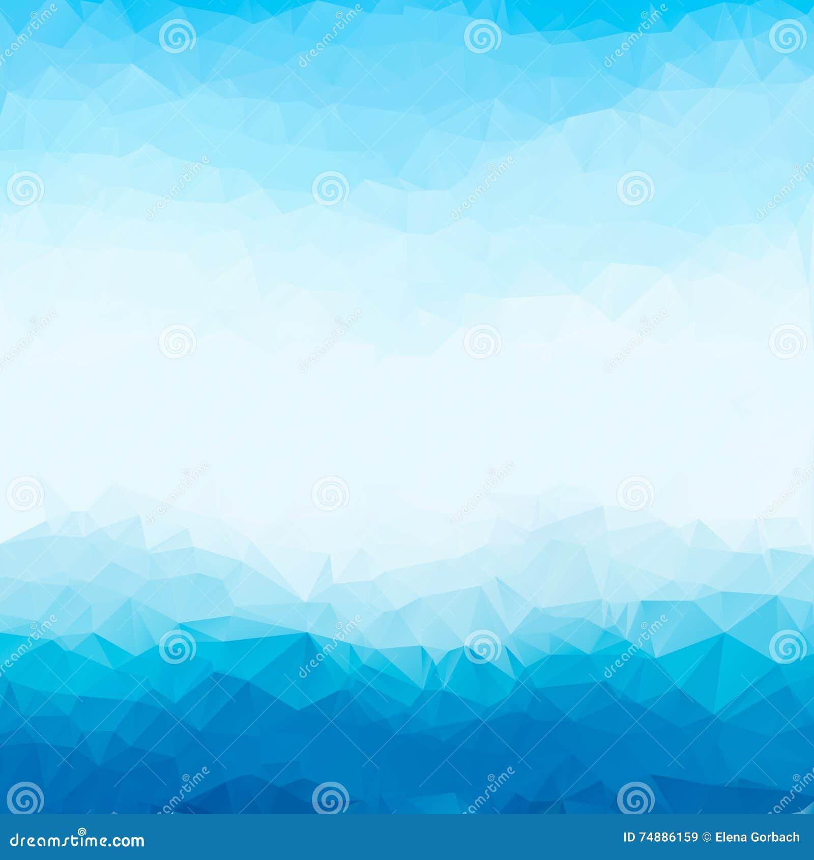 Marco brillante azul claro del fondo del polígono del triángulo