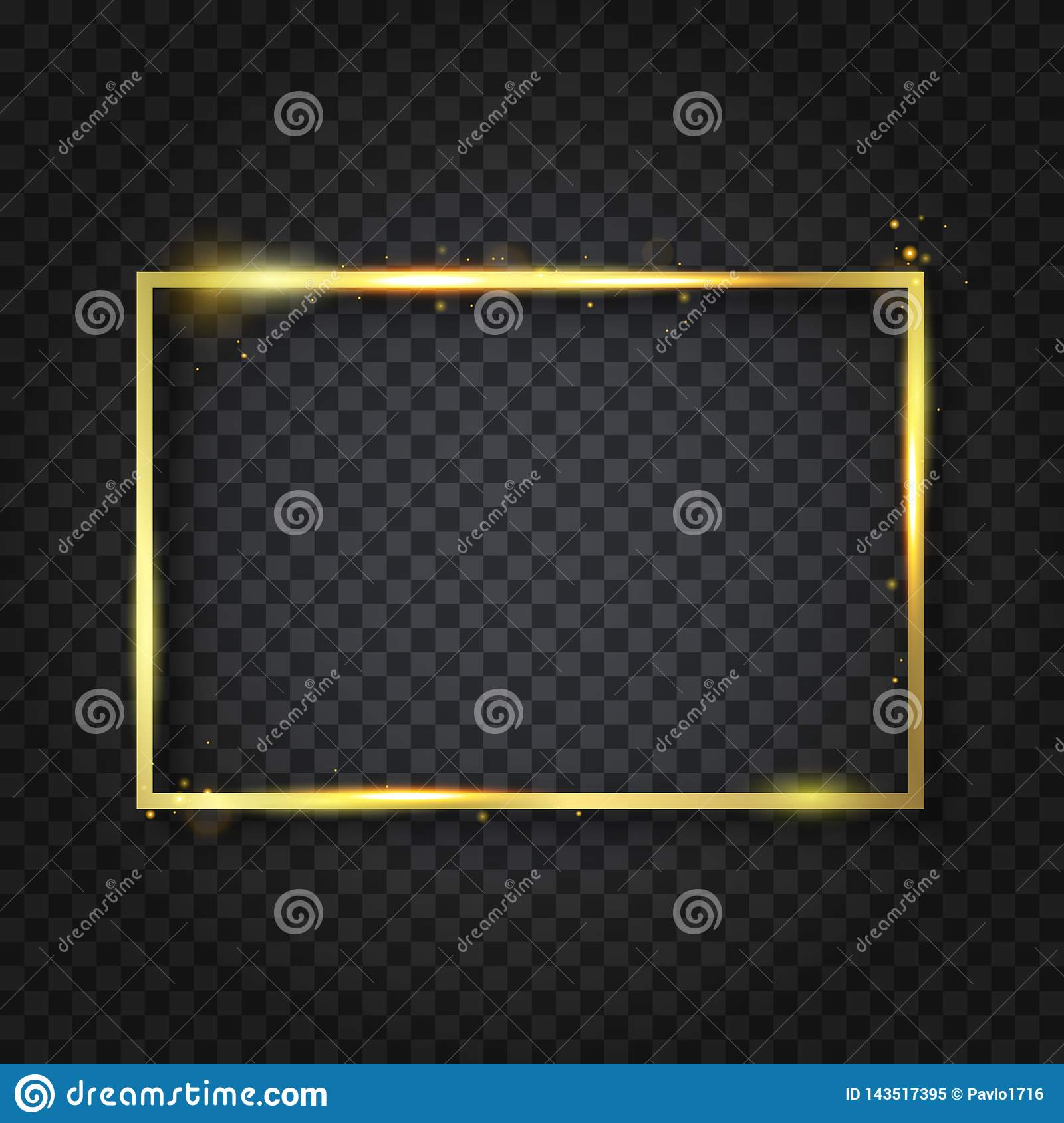 Marco brillante de lujo de oro del vintage que brilla intensamente con la reflexi?n y las sombras E