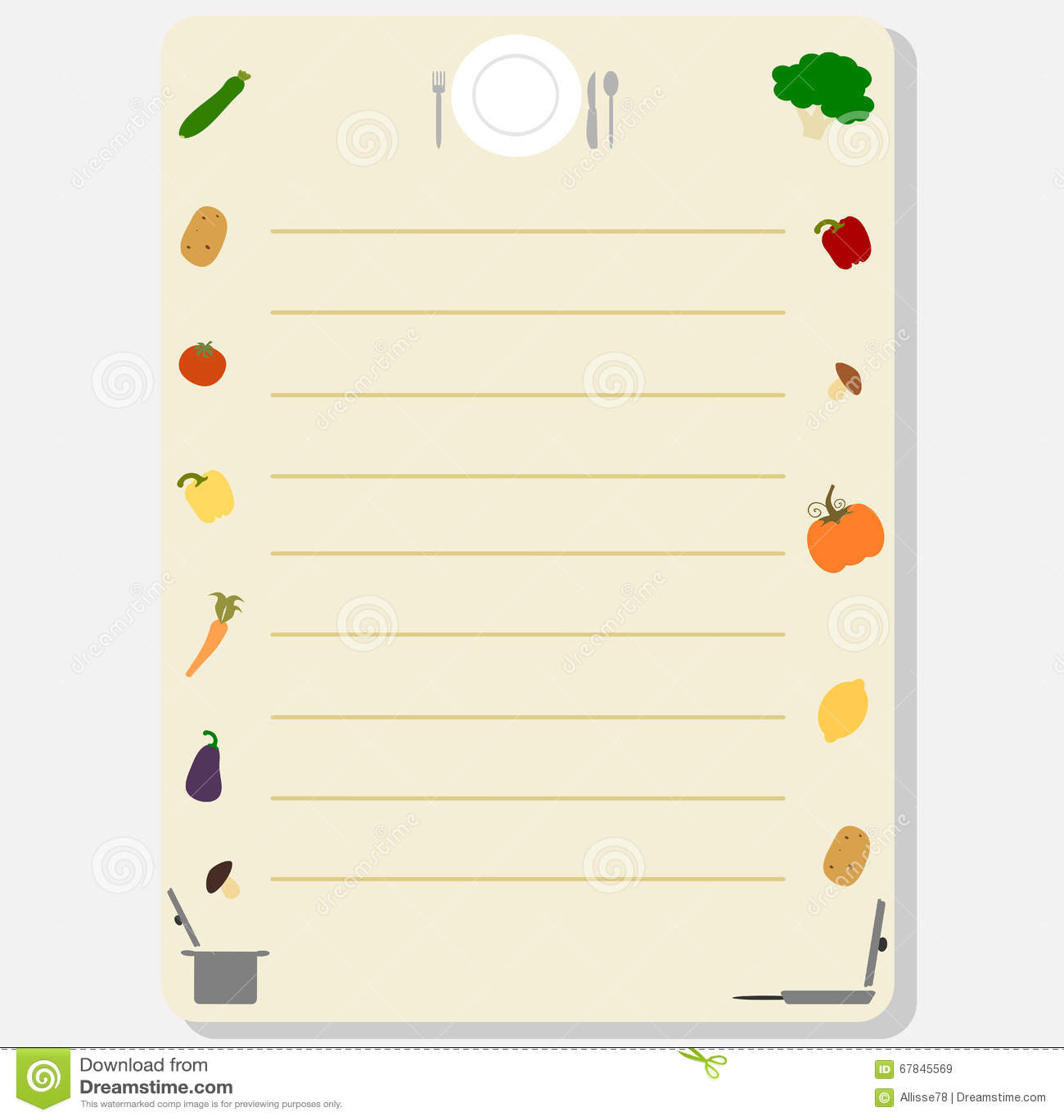 Marco colorido lindo de la plantilla para un ejemplo del for Plantillas de cocina