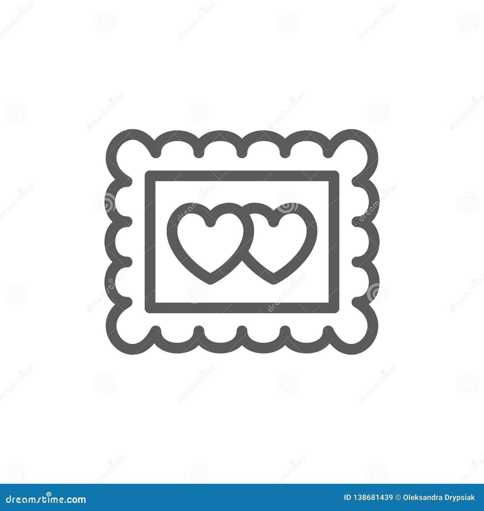 Marco con dos corazones, línea icono de la foto del día de San Valentín
