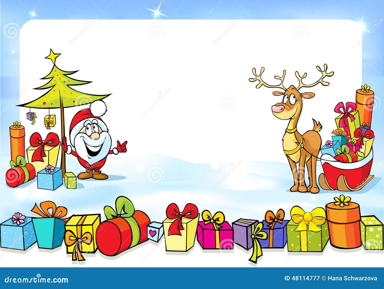 Marco Con Santa Claus Juegos De La Navidad Muchos Regalos Y Reno